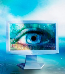 Eye on Flat Panel Monitor --- Image by © Royalty-Free/Corbis