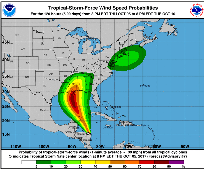 NATE - WIND PROBABILITIES