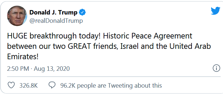 PEACE AGREEMENT - TRUMP TWEET
