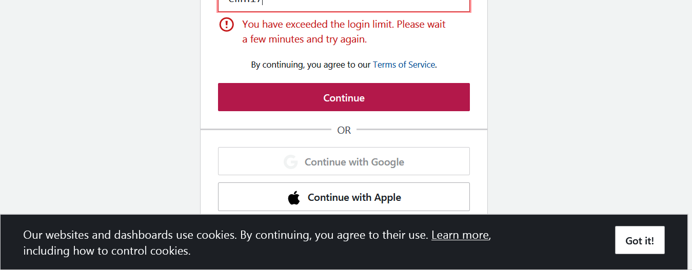 LOG IN LIMIT